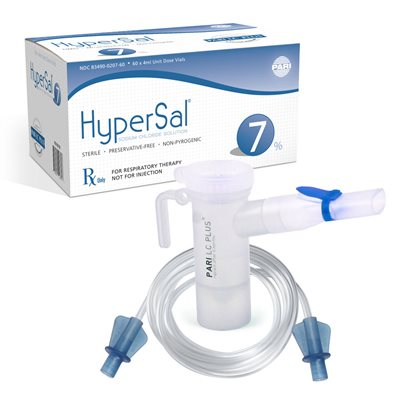 HyperSal 7% NaCl Inhalation Solution Case of 12 ( 60 X 4 ml UDV), w/ LC neb