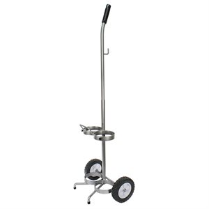 Cylinder Cart w/Rubber Wheels, Adjustable Handle, Holds 2 x D/E, Qty 2