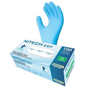 RONCO NITECH Examination Gloves, Powder Free, Large, (100 Gloves per Box)