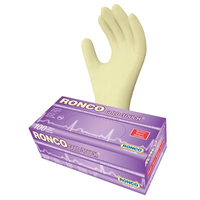 RONCO Gold Touch Synthetic Stretch Gloves, Powder Free, Medium, Each