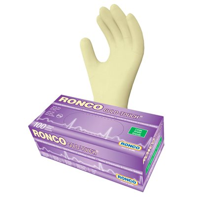 RONCO Gold Touch Synthetic Stretch Gloves, Powder Free, Large, Each