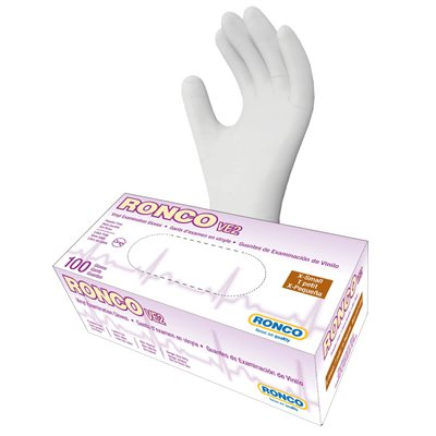 RONCO Vinyl Examination Gloves, Powder Free, Extra Small, Each