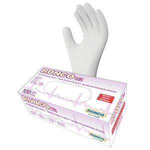 RONCO Vinyl Examination Gloves, Powder Free, Medium, Case of 10 Dispensers