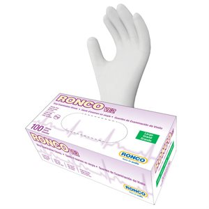 RONCO Vinyl Examination Gloves, Powder Free, Large, (100 Gloves Per Box)