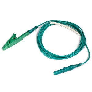 """KING Electrode Lead Cable 1.5 mm Female TP conn. to Alligator Clip Length 5"""" (13 cm), Green, Qty 1"""