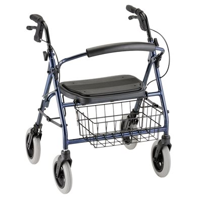 "Mini Mack Rollator Blue, 8"" Wheels, 400lbs, 19.5 Seat to Floor"