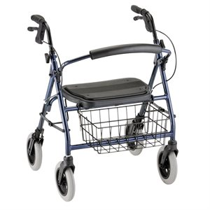 "Mini Mack Rollator Blue, 8"" Wheels, 400lbs, 19.5 Seat to Floor"