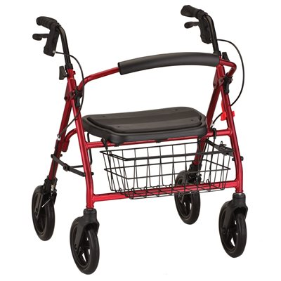 "Mini Mack Rollator Red, 8"" wheels, 400lbs, 19.5"" Seat to floor"